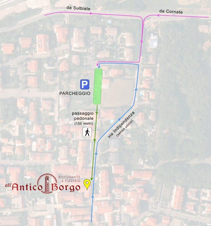 dal parcheggio potete facilmente raggiungere il ristorante attraverso il passaggio pedonale indicato.